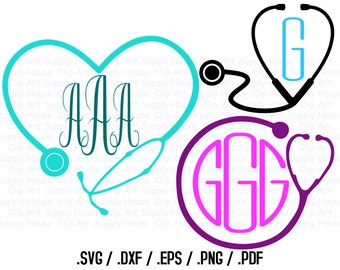 Nurse Monogram Frame Clip Art, Svg Design Files, Use With Silhouette Software, DXF Files, SVG Font, EPS File, Svg Font, Silhouette - CA295