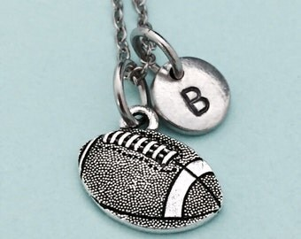 Football necklace, football charm, sports necklace, personalized bracelet, initial necklace, monogram