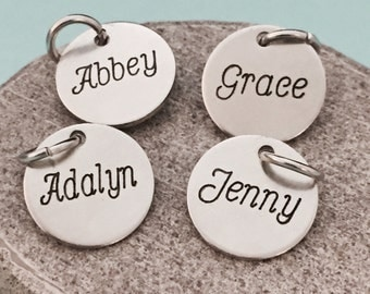 Add on to necklace, bracelets or keychain so, personalized name, add on disk, name disk, customized name, add on charm