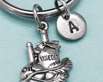 Vinegar and oil keychain, vinegar and oil charm, condiment keychain, personalized keychain, initial keychain, customized, monogram