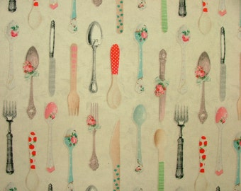 Mini Prints 100% Cotton Fabric - Multi Use Curtain Blinds Quilting Craft - Knives, Forks And Spoons