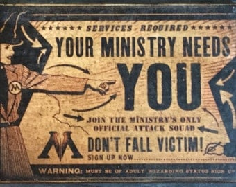 SAMPLE SALE: HP Ministry of Magic Ad Antiqued Wooden Sign