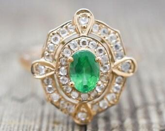 Rose Gold, Emerald, Diamonds Ring