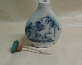 A Chinese vintage fine porcelain snuff bottle with lid , traditional countryside rural life scenery , marked on bottom