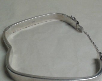 A square sterling silver bangle - retro 1970s themed style jewellery