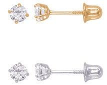 14k White/Yellow Gold Basket Setting With Round Cut CZ Screw Back Stud Earrings