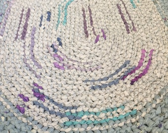 Blue, purple, and white Rag Rug