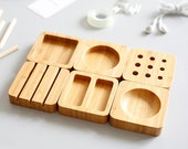 Bamboo Table organizer, Desktop organizer, Desk organizer,Desktop Furniture, Desktop Vessels Set