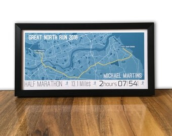 Great North Run 2016 Map or route Print - Personalised Gift for runner - Half Marathon running print - ANY RUNNING EVENT - Wall trophy