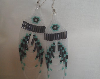 White Turquoise and black Native american style earrings