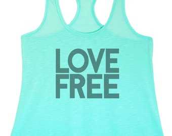 Women's Regular Love Free Printed Graphic Polyester Tank Top with a racerback- Small-XLarge  (pt-053-tp)