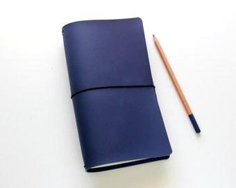 Travelers Notebook, Fauxdori Cover, Midori Cover in Indigo Blue, Midori Travelers Notebook, Midori Inserts, Like Midori Pan Am Quad Binding