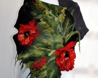 Shawl With Poppy Flowers / Nuno Felt / Red Flowers / Silk Scarf / Handmade Felted Shawl / Merino Wool / Made to order/ Free shipping.