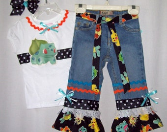 Custom boutique girls Pokemon jeans & ribbon shirt set all sizes 12 mo - 14/16