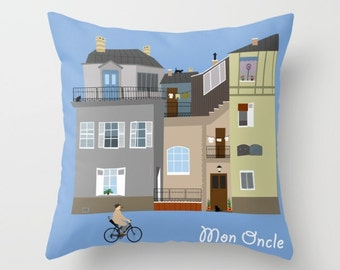 Jacques Tati Pillow-Hulot pillow-French cinema lover cool throw pillow-Mon Oncle Throw Pillow-Architecture-Bicycle pillow-Colourful pillow
