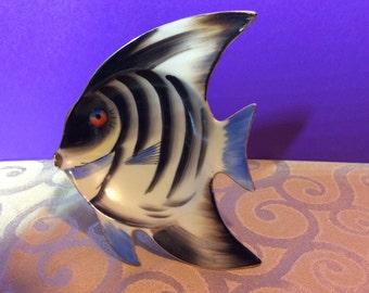 Hand Painted Porcelain Tropical Fish Dish Ashtray Wall Hanging