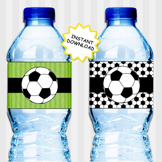 soccer water bottle labels soccer decorations by helenaprints