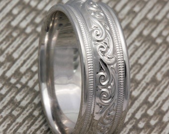 8.5mm 14K/18K White Gold Hand Crafted Paisley Design, Comfort Fit with Milgrain , Wedding Band,  Gold Rings ,FREE ENGRAVING