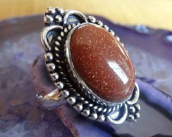Sterling silver Natural Goldstone Ring Size 9.5 - Natural Stone Ring - ring size 9 10 - Gemstone Ring - Goldstone ring - Boho