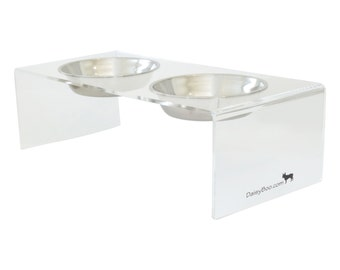 Designer Double Dog Bowl / Raised Pet Feeders / Food and Water Bowls Set - Large