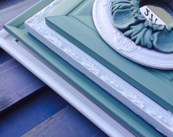 Green and White Collection of Open Shabby Chic Frames, Gallery Wall Frame Set, Custom Frame Set, Distressed Frames,