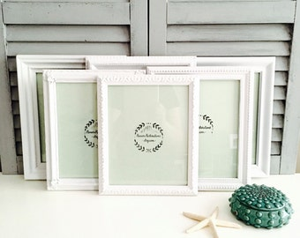 8x10 White Picture Frames Set; Custom Ornate Picture Frames; All-White Nursery Wall Decor; Gender Neutral Nursery; White Gallery Wall;