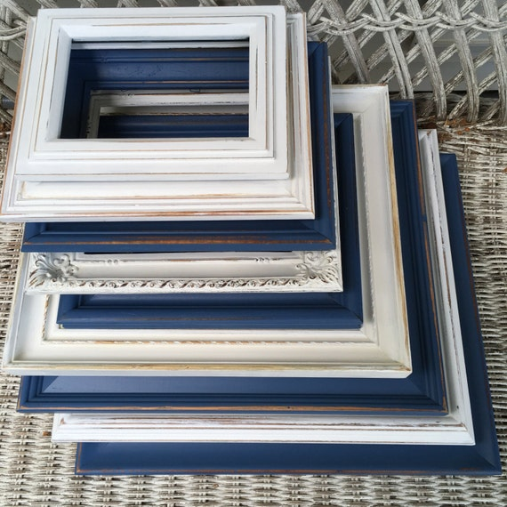 custom navy blue and white gallery wall set open frames set hand painted and distressed frame. Black Bedroom Furniture Sets. Home Design Ideas