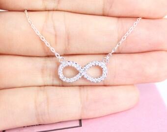 Infinity sign necklace,Infinity necklace,Infinity Cubic necklace,CZ necklace,layered necklace,layering necklace,bridesmaid,friendship,