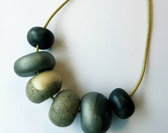 Polymer clay bead necklace.