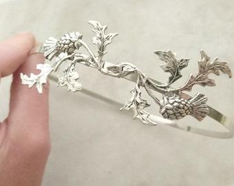 Scottish Thistle Headband Scottish Thistle Silver Headband Silver Headpiece Flower Headband Wedding Hair Bridal Hair Accessories