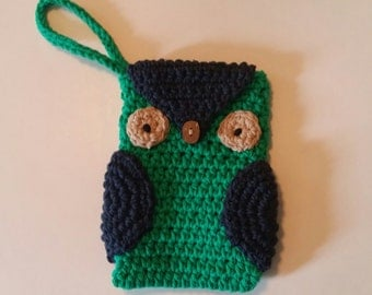 Owl Cell Phone Case. Owl Cell Phone Pouch. Owl Crochet Cell Phone Case.