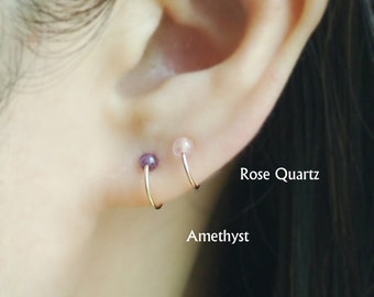 Cartilage Hoop Earring with Gem Stone, Tiny Cartilage Ring, boho, Helix,Tragus,Ear Lobe,Nose Ring,piercing,Price per One Item