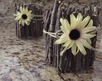 Set of two rustic glass candle holders with flowers, twigs and twine, rustic decor, custom farmhouse decor, homespun candle holders