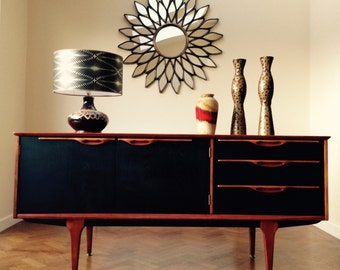 SOLD-RETRO MIDCENTURY Sideboard in solid and veneered teak, Stylishly Re-Invented in Farrow & Ball Black Blue