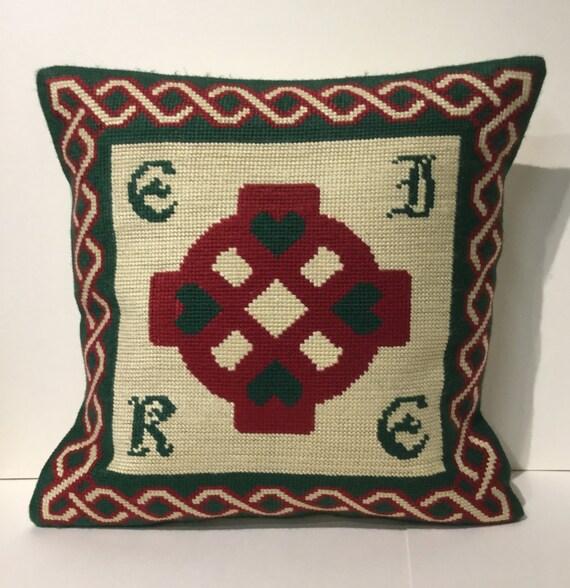 Celtic designer needlepoint cushion pillow cross Eire traditional