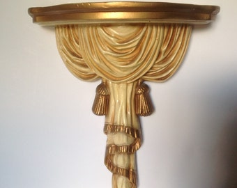 Vintage Gold Hollywood Regency Corbel/Vintage Ornate Gold Shelf/Salvaged Ornate Corbel/Cottage Chic Wall Decor/Large Vintage Corbel