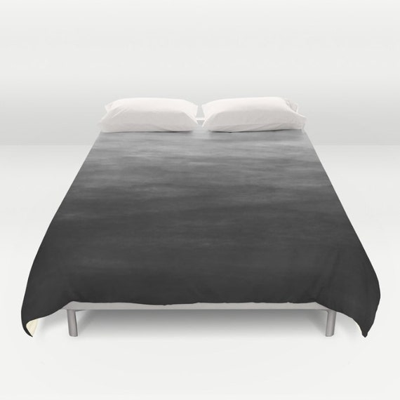 dark grey watercolor ombre duvet cover by kalilainedesigns. Black Bedroom Furniture Sets. Home Design Ideas