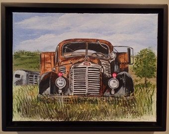 "Original "" Old Cattle Truck"" Framed Acrylic Painting on a Stretched Gallery Canvas. #14-028"