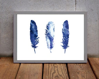 three feathers, feather print, feather art, navy feathers