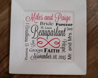 Wedding Day Memory Decorative Plate Personalized Wedding Gift