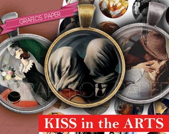 """Digital Collage Sheet, Bottle Cap Images The Kiss images  1 inch, 25mm, 1.5"""", 1.25"""", 30mm Circle Images for Pendants cabochon- td223"""