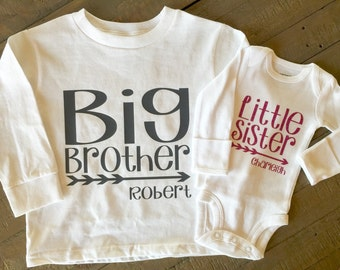 Big brother Little Sister, Big Sister Little Brother square arrow design on long sleeve tshirt/body suit