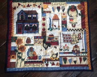 """Vintage Patchwork Placemat, Tray Cloth Wall Hanging or Dolls Quilt 30"""" x 27"""" Farm House Theme"""