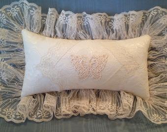 """Ivory Vintage Lace Pillow 11"""" x 6"""" Shabby Chic Decor Ivory Applique Boudoir Pillow Victorian Butterfly Applique Stickpin Pillow Lace Accent"""