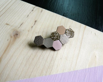 Brooch Hava leather and fabric glitter shape Hexagon, beige, dorebeige