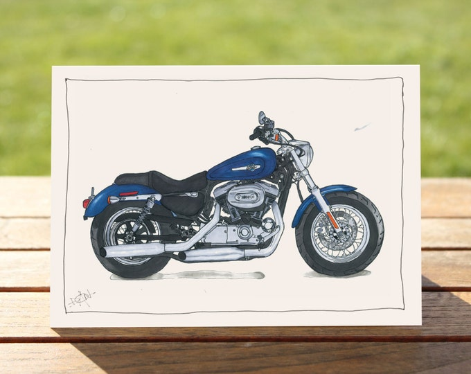 "Motorcycle Gift Card | Harley Davidson Sportster 1200 | A6 - 6"" x 4"" / 103mm x 147mm 