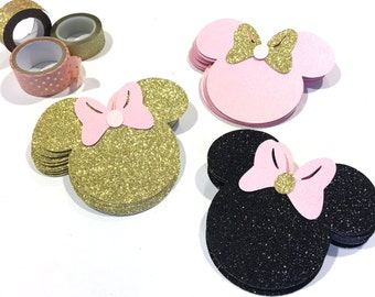 Pink and Gold Inspired Minnie Mouse, Paper Cutouts, Scrapbooking, Party Decorations, Pink and Gold, gold and pink minnie mouse party