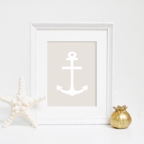 Coastal Art, Anchor Print, Nautical Decor, Anchor Wall Art, Printable Anchor, Beige Print, Printable Art, Digital Prints, Digital Download