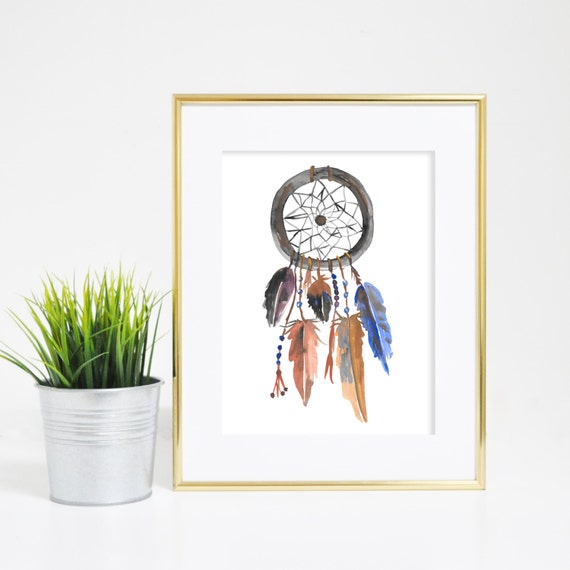 Dream Catcher Print, Wall Art Print, Dreamcatchers, Dream Catcher Art, Dreamcatcher Print, Watercolor Art, Tribal Prints, Printable Art
