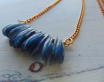 Blue Stone and brass necklace
